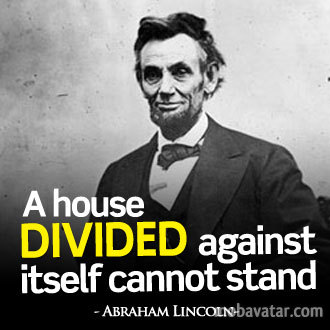 "Lincoln warns that America is becoming a ""house divided"""